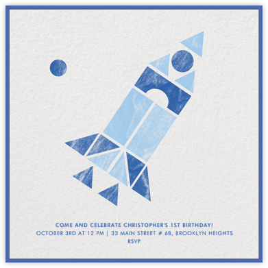 Spaceship - Blue - Paperless Post - Invitations