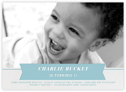 Ribbon Banner - Bondi - Paperless Post - First Birthday Invitations