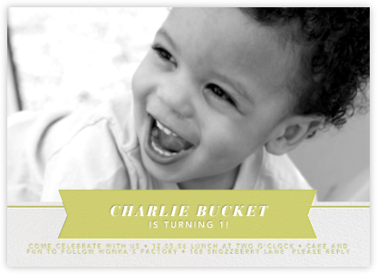Ribbon Banner - Chartreuse - Paperless Post - First Birthday Invitations