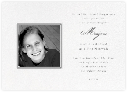 Square Frame - Horizontal (Gray)  - Paperless Post - Bar and Bat Mitzvah Invitations