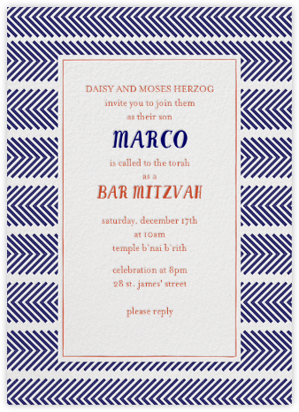 Zig Zag - Royal Bar Mitzvah - Mr. Boddington's Studio - Bat and Bar Mitzvah Invitations