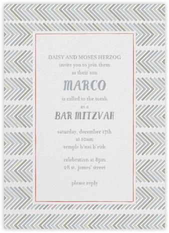 Zig Zag - Neutrals Bat Mitzvah - Mr. Boddington's Studio - Bar and Bat Mitzvah Invitations
