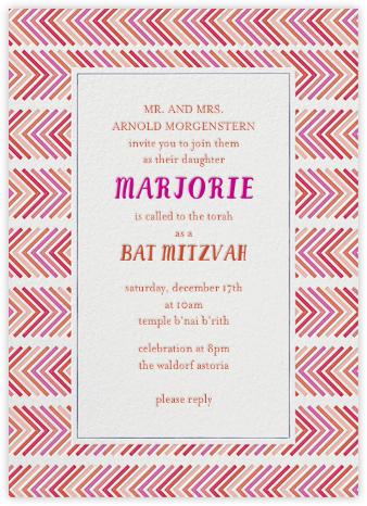 Zig Zag - Pinks Bat Mitzvah - Mr. Boddington's Studio - Bar mitzvah and bat mitzvah invitations