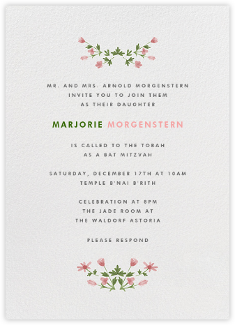 Floral Border - Bat Mitzvah - Paperless Post - Online Party Invitations