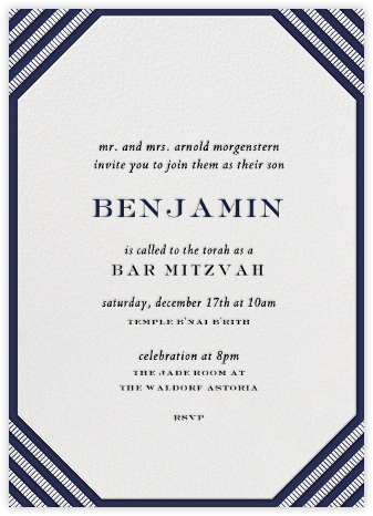 Claridge (Tall) - Navy - Paperless Post - Bar and Bat Mitzvah Invitations