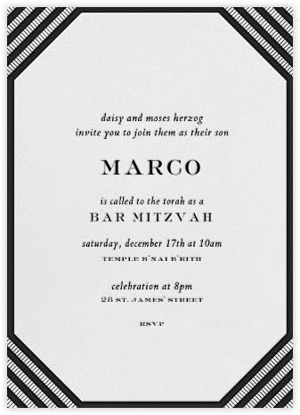 Claridge (Tall) - Black - Paperless Post - Bat and Bar Mitzvah Invitations