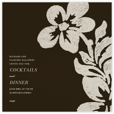 Flora - Cocoa - Oscar de la Renta - Dinner Party Invitations