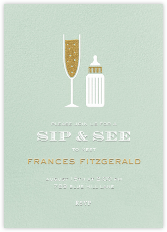 Sip & See - Mint - Paperless Post - Baby Shower Invitations