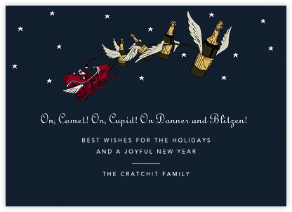 Champagne Sleigh (Horizontal) - Paperless Post - Funny Christmas eCards