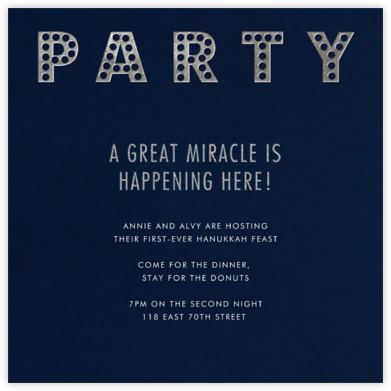Marquee Lights - Midnight - Paperless Post - Hanukkah Invitations