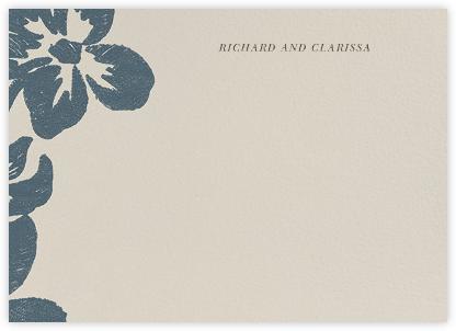 Flora Horizontal - Blue - Oscar de la Renta - Personalized Stationery