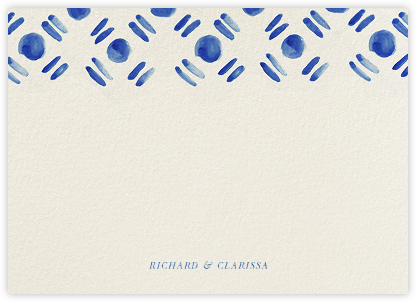 Dot and Dash Horizontal - Indigo - Oscar de la Renta - Personalized Stationery