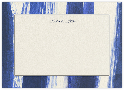 Watercolor Horizontal - Indigo - Oscar de la Renta - Personalized Stationery