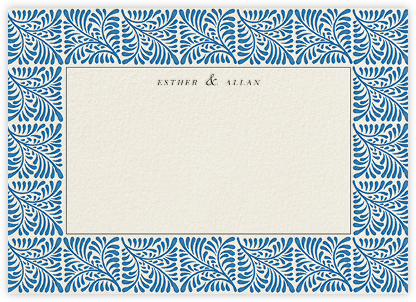 Woodblock Horizontal - Indigo - Oscar de la Renta - Personalized Stationery