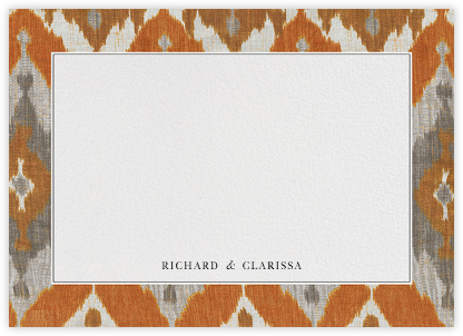 Silk Horizontal - Persimmon - Oscar de la Renta - Personalized Stationery