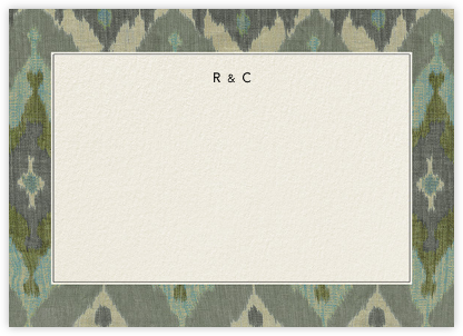 Island Ikat - Blue Green - Oscar de la Renta - Personalized Stationery