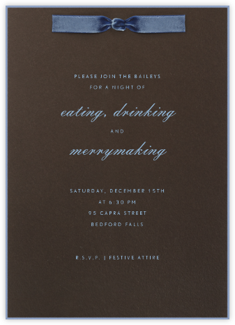 Blue Velvet Ribbon - Paperless Post - Online Party Invitations
