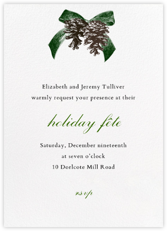 Winter Pine - Green - Paperless Post - Holiday Invitations