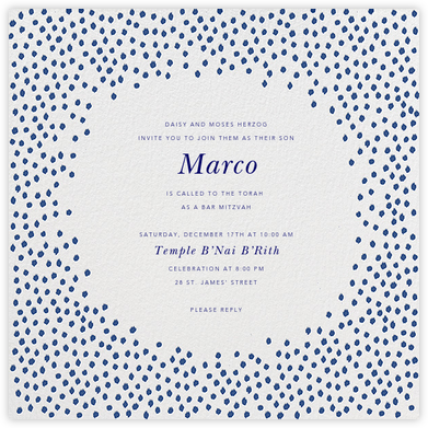 Ikat Dot - Ivory/Indigo - Oscar de la Renta - Bat and Bar Mitzvah Invitations