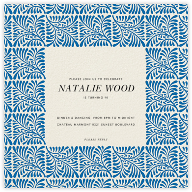 Woodblock - Indigo - Oscar de la Renta - Adult Birthday Invitations