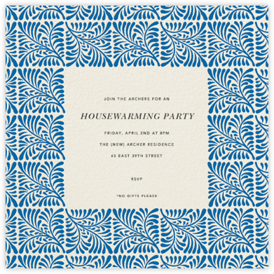 Woodblock - Indigo - Oscar de la Renta - Housewarming party invitations