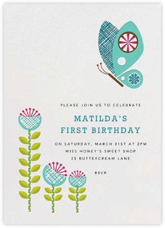 Spring Butterfly - Petit Collage - First Birthday Invitations
