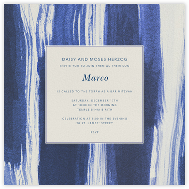 Watercolor - Indigo - Oscar de la Renta - Bat and Bar Mitzvah Invitations