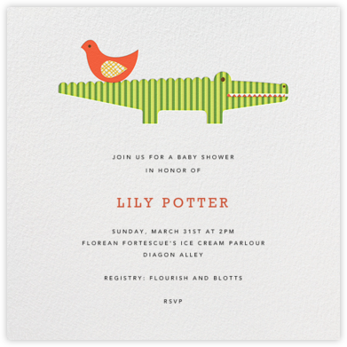 Modern Alligator - Petit Collage - Baby Shower Invitations