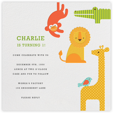 Modern Animals - Petit Collage - Birthday invitations