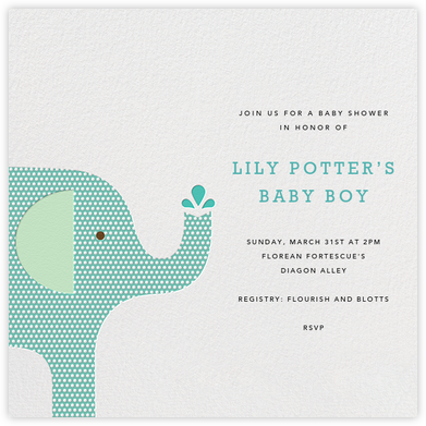 Modern Elephant - Celadon - Petit Collage - Baby shower invitations