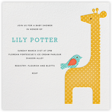 Modern Giraffe - Petit Collage - Baby shower invitations