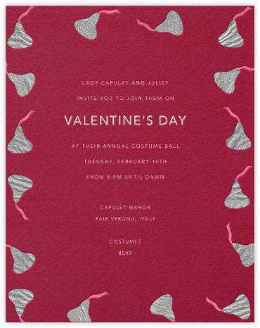 Kisses (Pink) - Paperless Post - Valentine's Day invitations