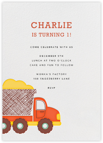 Little Dump Truck - Petit Collage - Birthday invitations