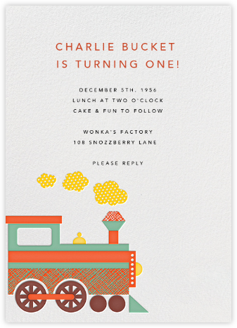 Little Train Engine - Petit Collage - Birthday invitations