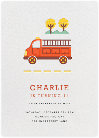 Little Fire Truck - Petit Collage - Online Kids' Birthday Invitations