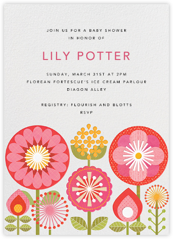 Pink Mod Flowers - Petit Collage - Baby Shower Invitations