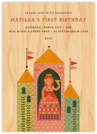 Princess Castle - Pink - Petit Collage - First Birthday Invitations