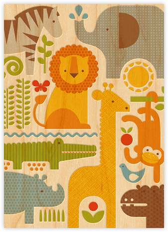 Safari Parade  (Double-sided) - Invitation - Petit Collage - Elephant Baby Shower Invitations