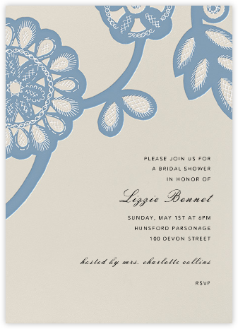 Camille - Aqua - Oscar de la Renta - Bridal shower invitations