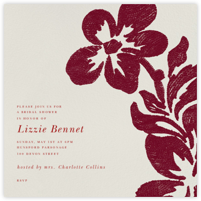 Flora - Ruby - Oscar de la Renta - Bridal shower invitations