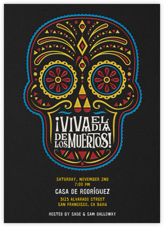 Day of the Dead - Night - Crate & Barrel - Día de los Muertos invitations