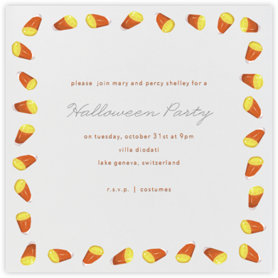 Candy Corn (Square) - Paperless Post - Halloween invitations