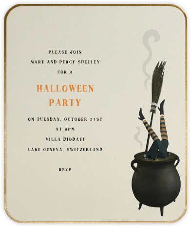 Wicked Witch (Gold Border) - Paperless Post - Halloween invitations