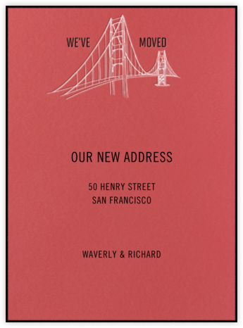 Golden Gate Bridge (Coral) - Paperless Post - Moving announcements