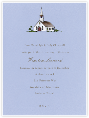 Country Church (Powder Blue) - Paperless Post - Christening Invitations