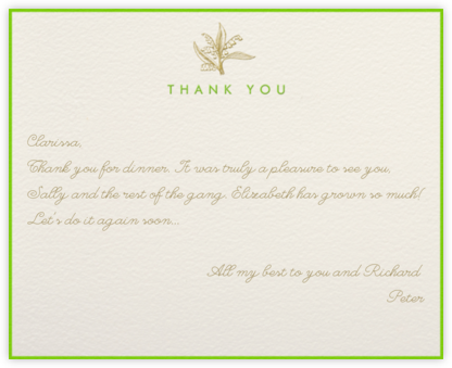Lilies of the Valley Thank You (Cream) - Paperless Post -