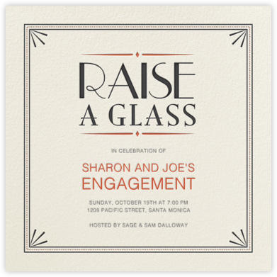 Raise a Glass - Crate & Barrel - Engagement party invitations