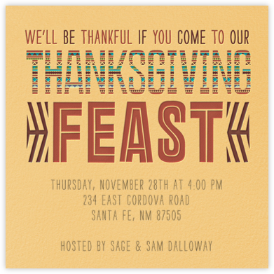 Southwest Thanksgiving - Crate & Barrel - Thanksgiving invitations