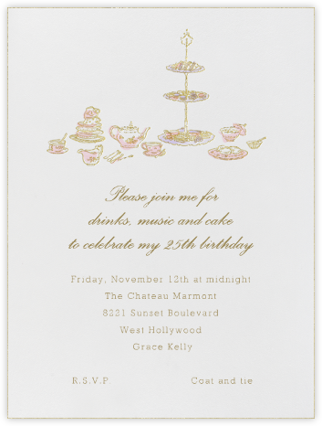 High Tea - Pink - Paperless Post - Adult Birthday Invitations