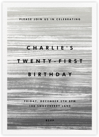 Gradient Messy Strokes - Black - Paperless Post - Adult Birthday Invitations